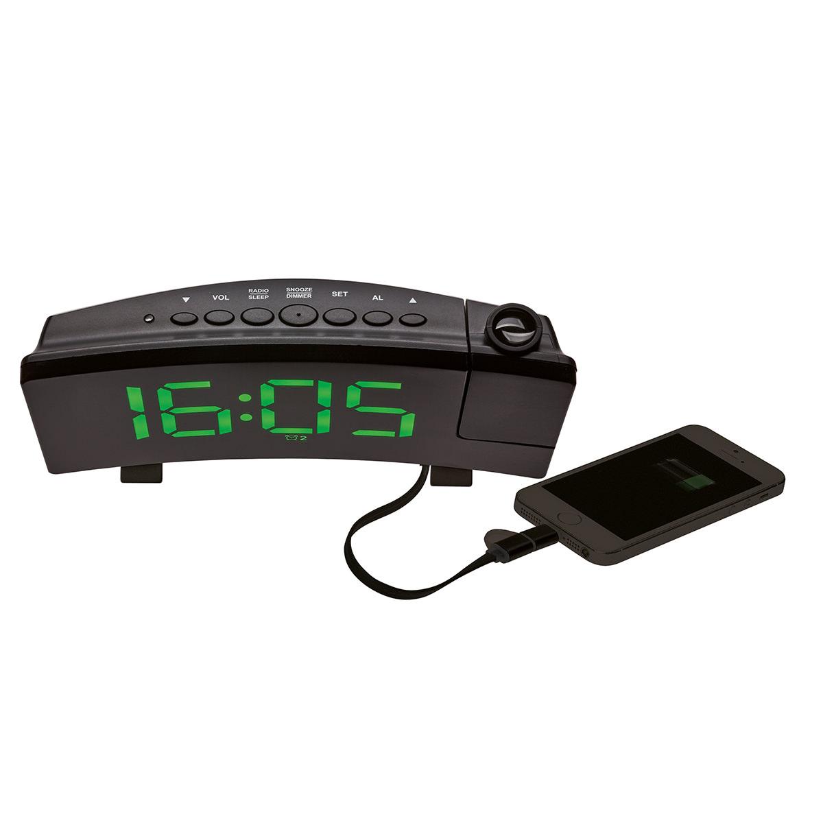 Проекционные часы с FM-радио и USB зарядкой TFA (60501504)